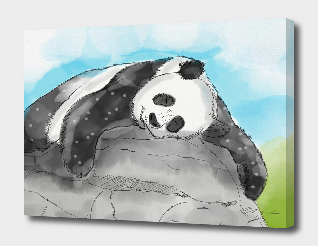 Sleepy Panda Lazy Watercolor
