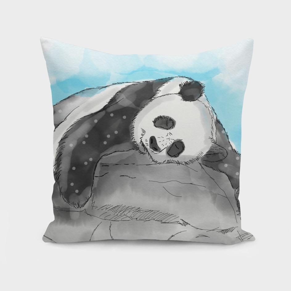 Sleepy Panda Lazy Watercolor
