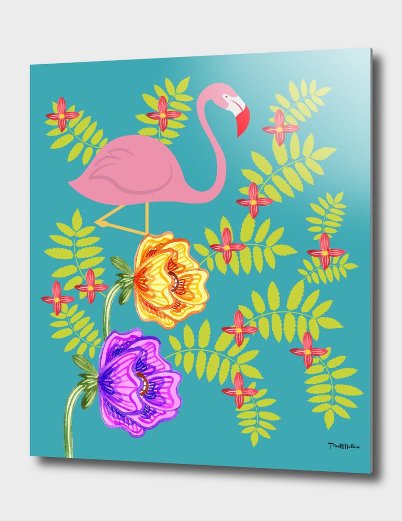 Flamingo in summer garden