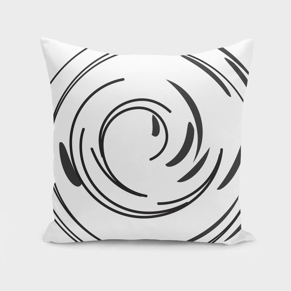 Black and White Twirl Pillow