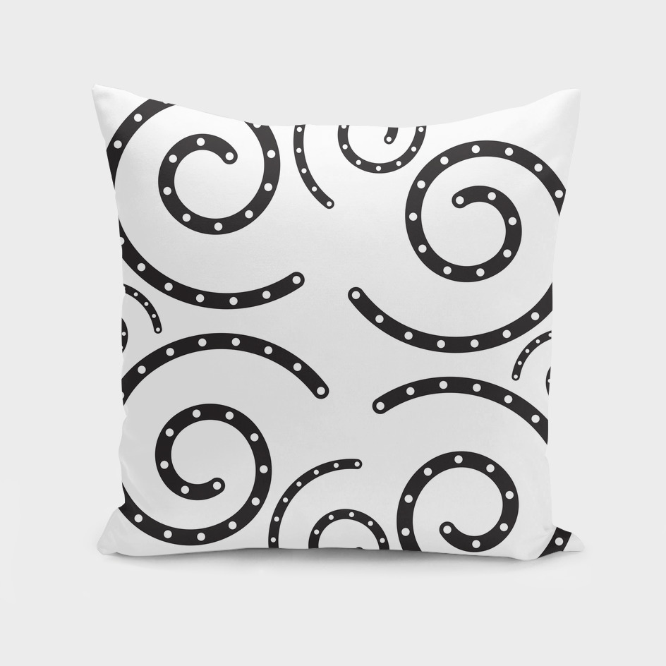 Black and White Polka Dotted Swirl Pillow
