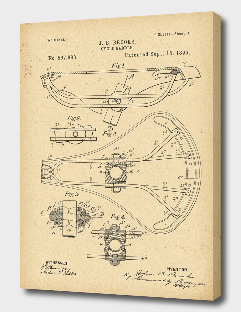 1896 Patent Bicycle saddle