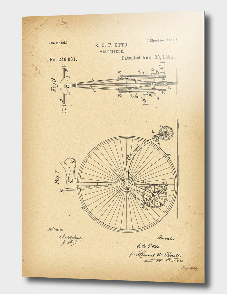 1881 Patent Velocipede Bicycle history innovation