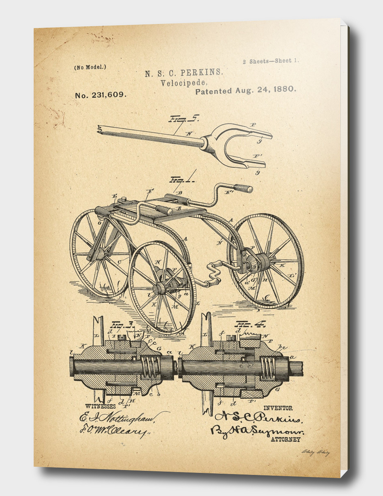 1880 Patent Velocipede Bicycle history innovation