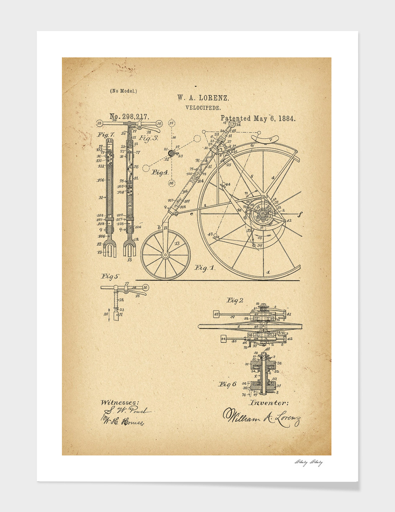 1884 Patent Velocipede Bicycle history innovation