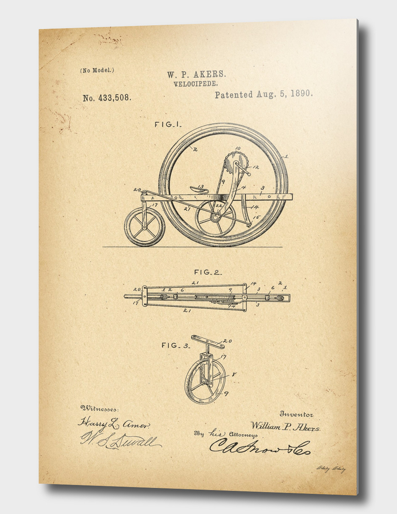 1890 Patent Velocipede Bicycle history innovation