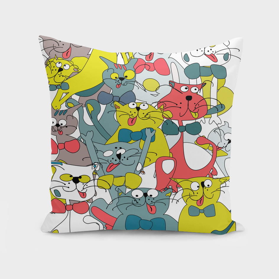 Funny doodle colorful cats.Seamless pattern