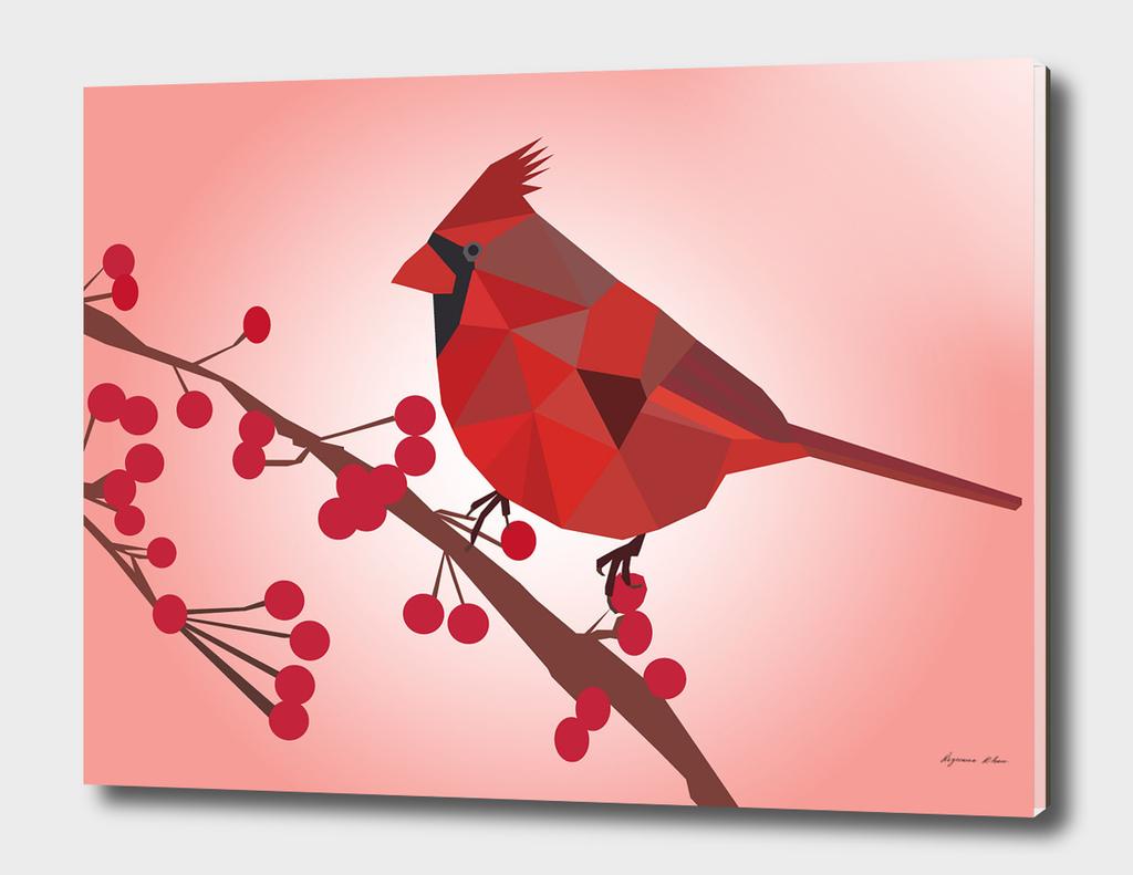 Northern Cardinal Bird LOW POLY ART