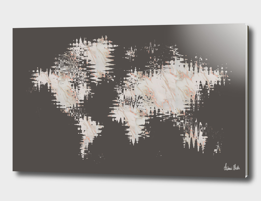 GRAPHIC ART Abstract World Map | rose gold & marble