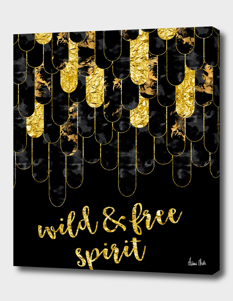 Graphic Art Feathers WILD & FREE SPIRIT | gold