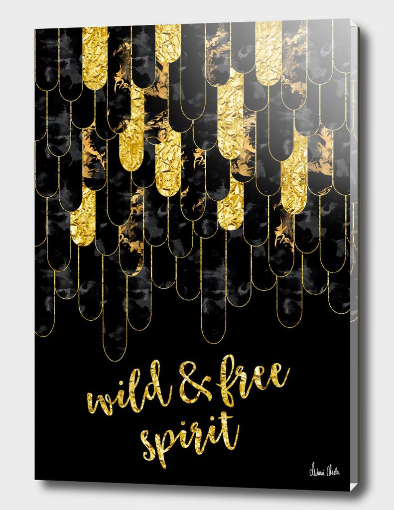 Graphic Art Feathers WILD & FREE SPIRIT | gold