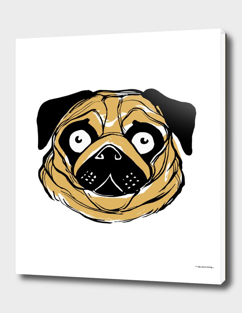 Face of a pug dog ink illustration