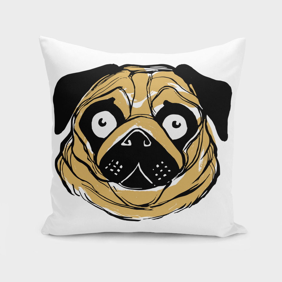 Face of a pug dog ink illustration