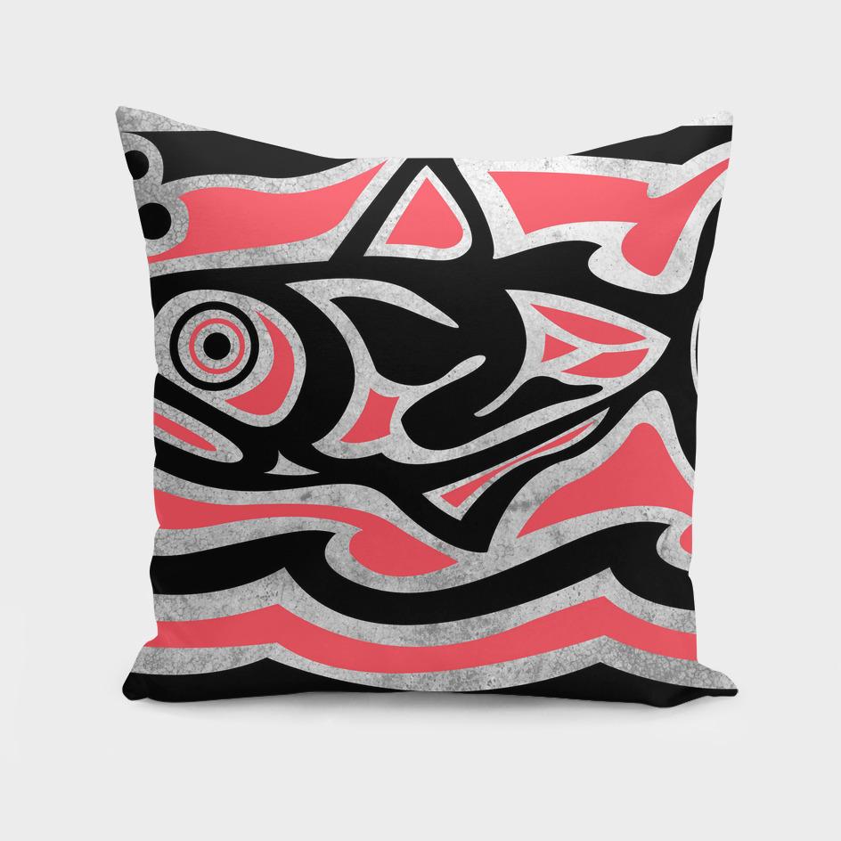 Tribal maori fish vector ink illustration