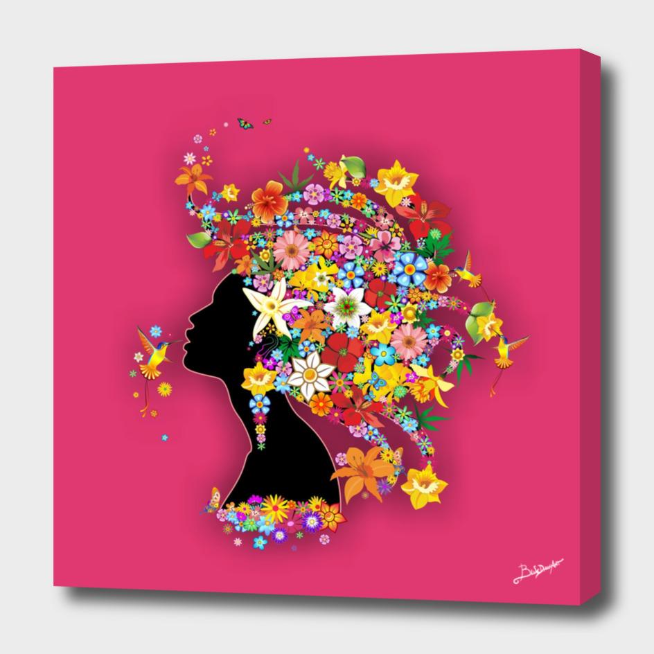 Hummingbird Kiss on Floral Girl