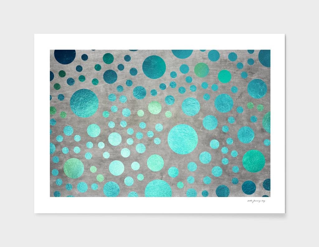 Turquoise Metallic Dots Pattern on Concrete Texture