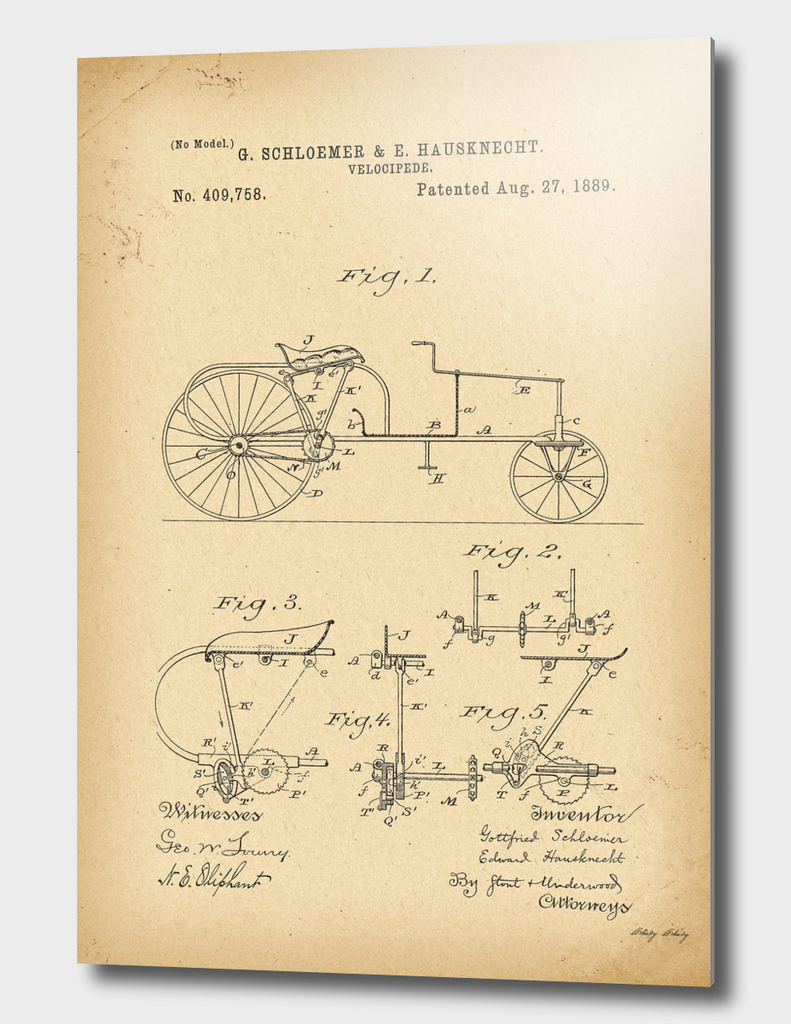 1889 Patent Velocipede Bicycle history innovation