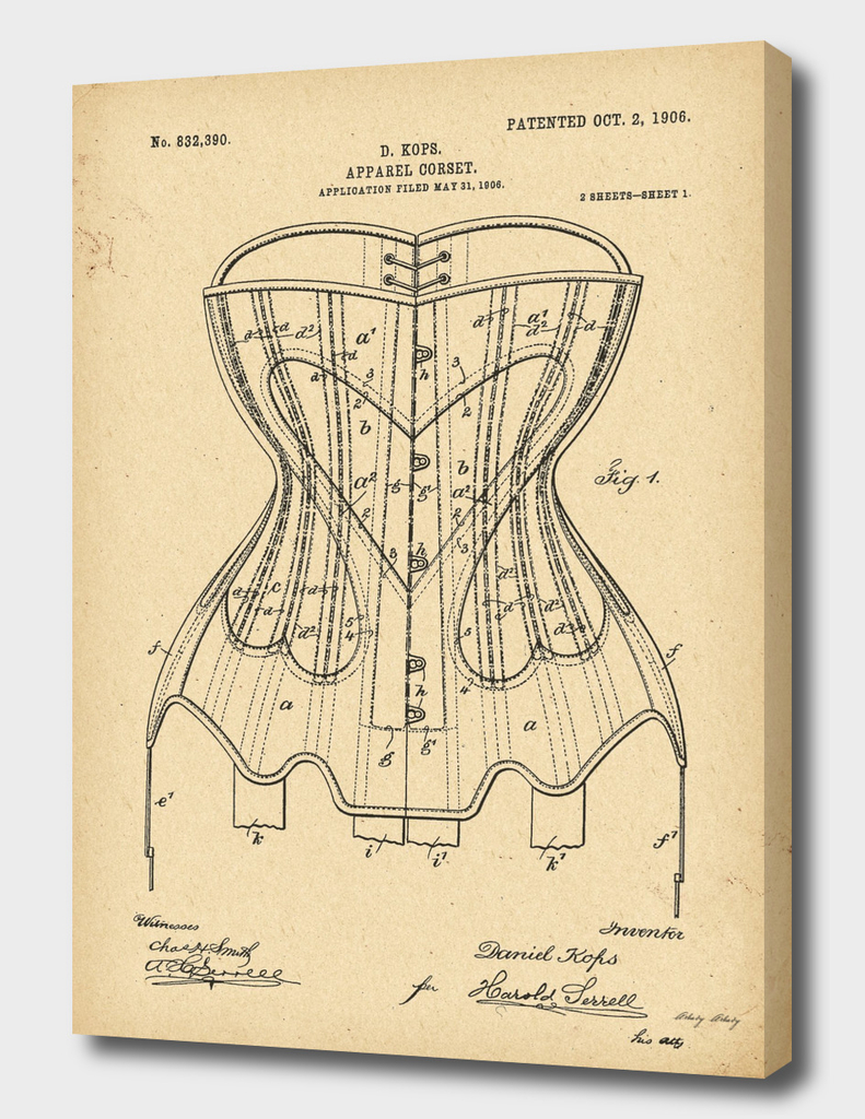1906 Patent Corset history fashion invention