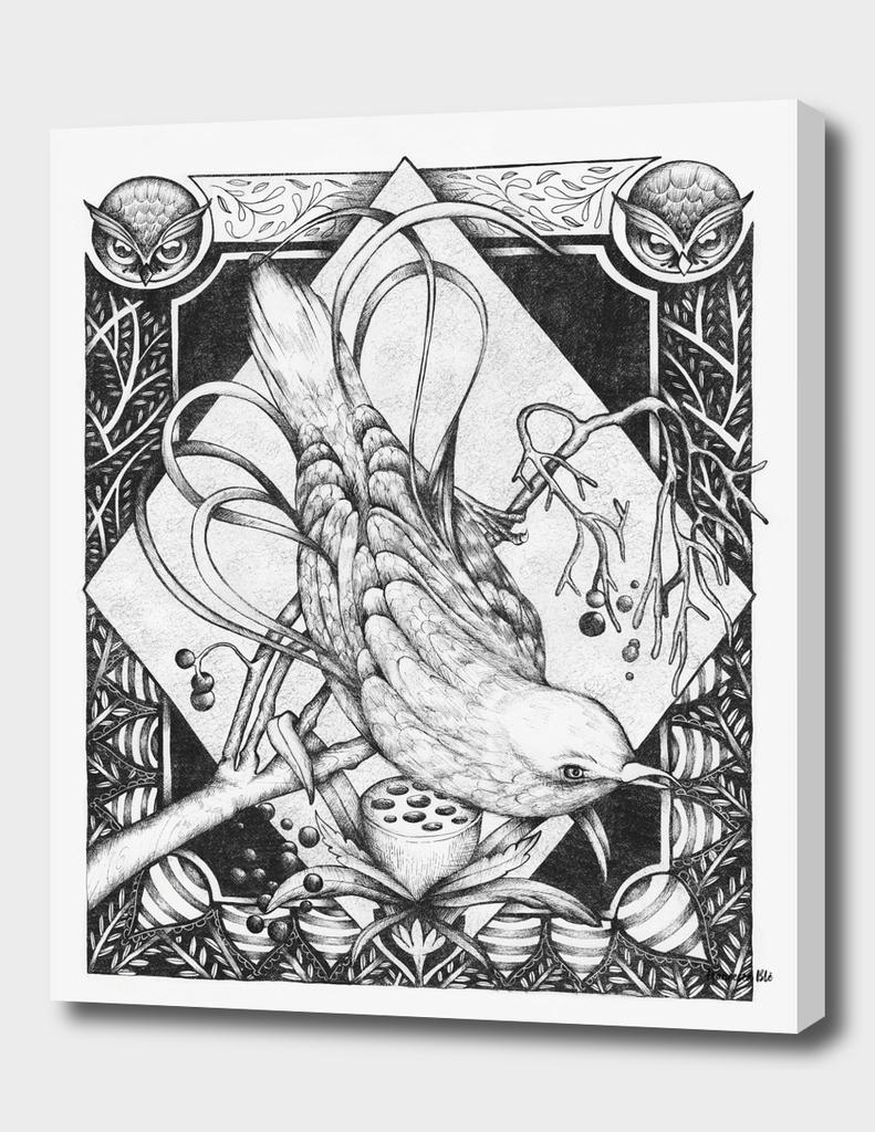 bird decoration serigrafia nero_32x45