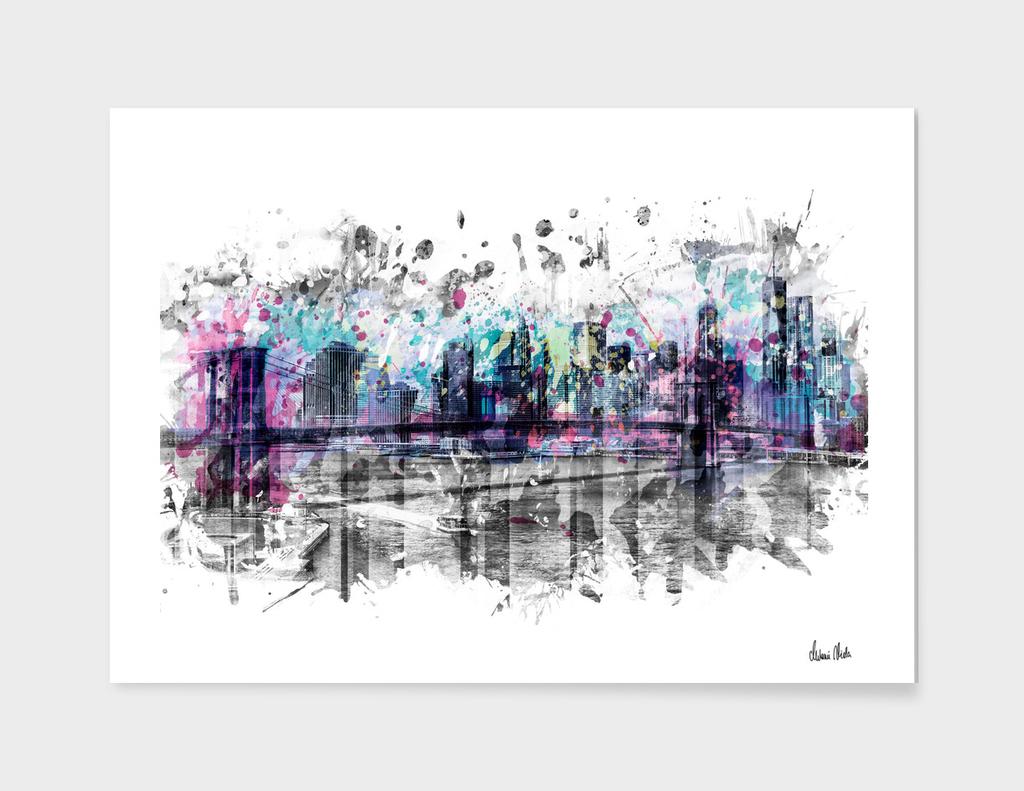 Modern Art NEW YORK CITY Skyline   Splashes