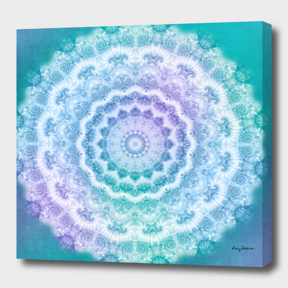 White Lacy Mandala on Teal and Purple