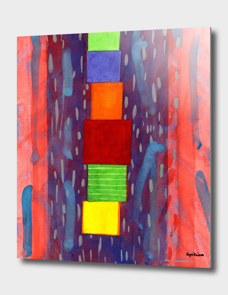 Colorful piled Cubes within free Painting