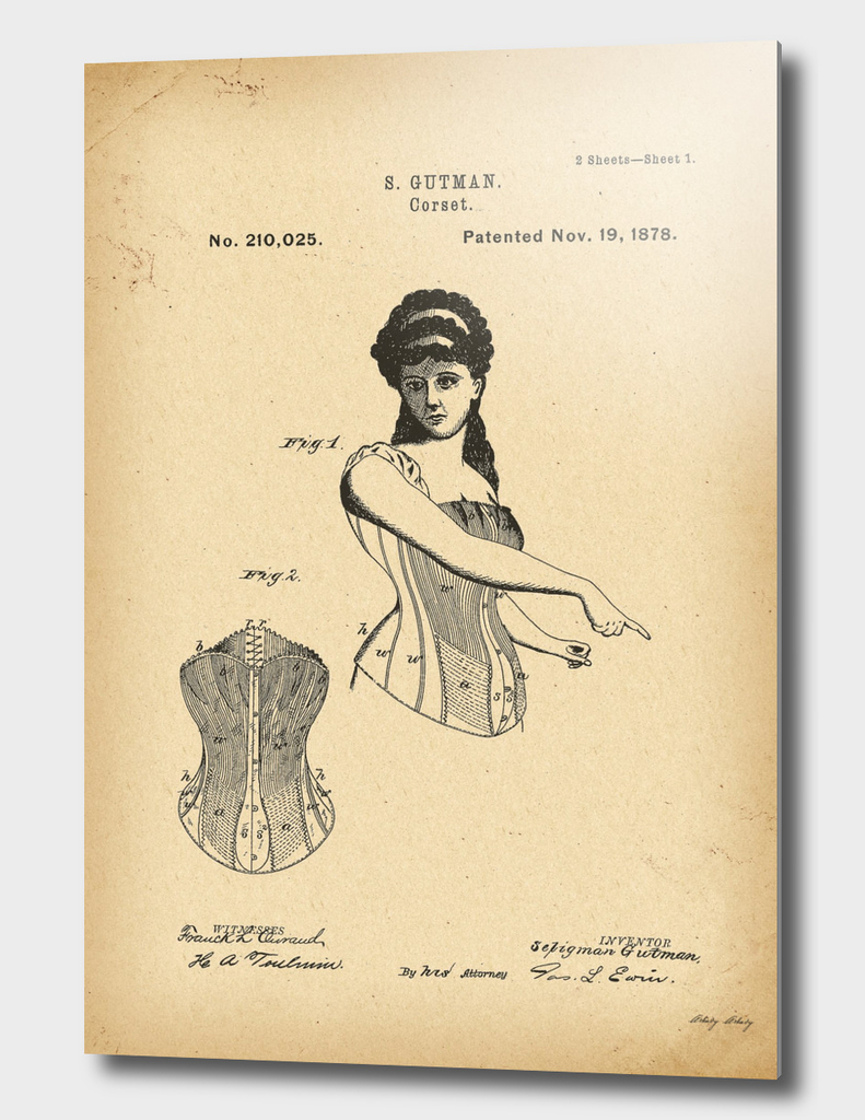 1878 Patent Corset history fashion invention