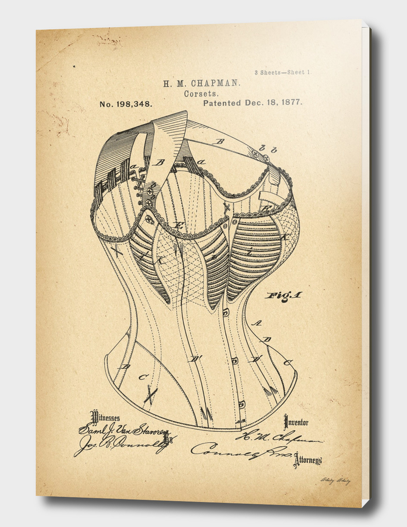 1877  Patent Corset history fashion invention
