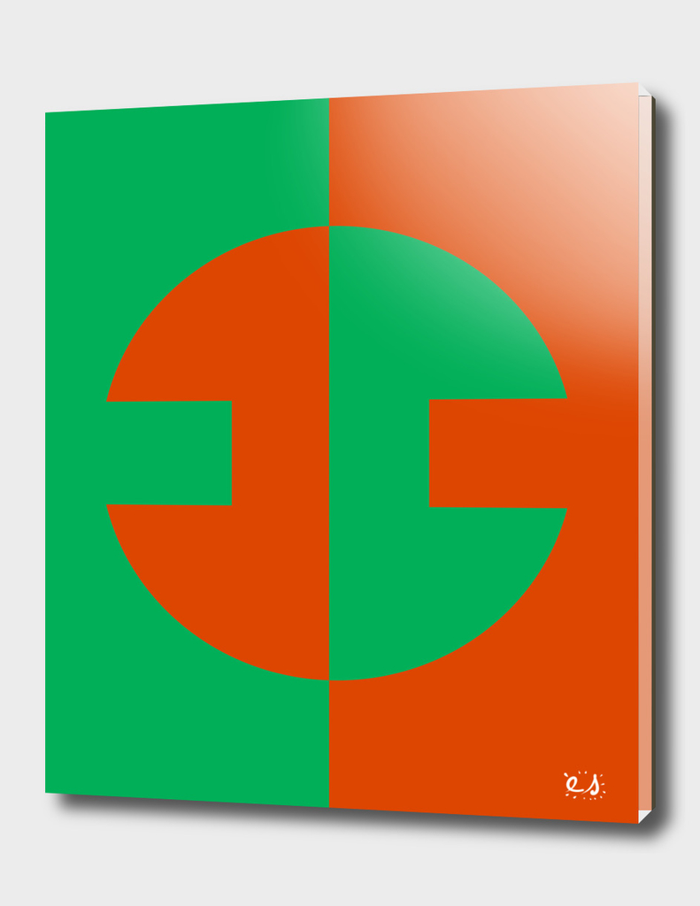 Orange Green Abstract Minimal Geometric Art