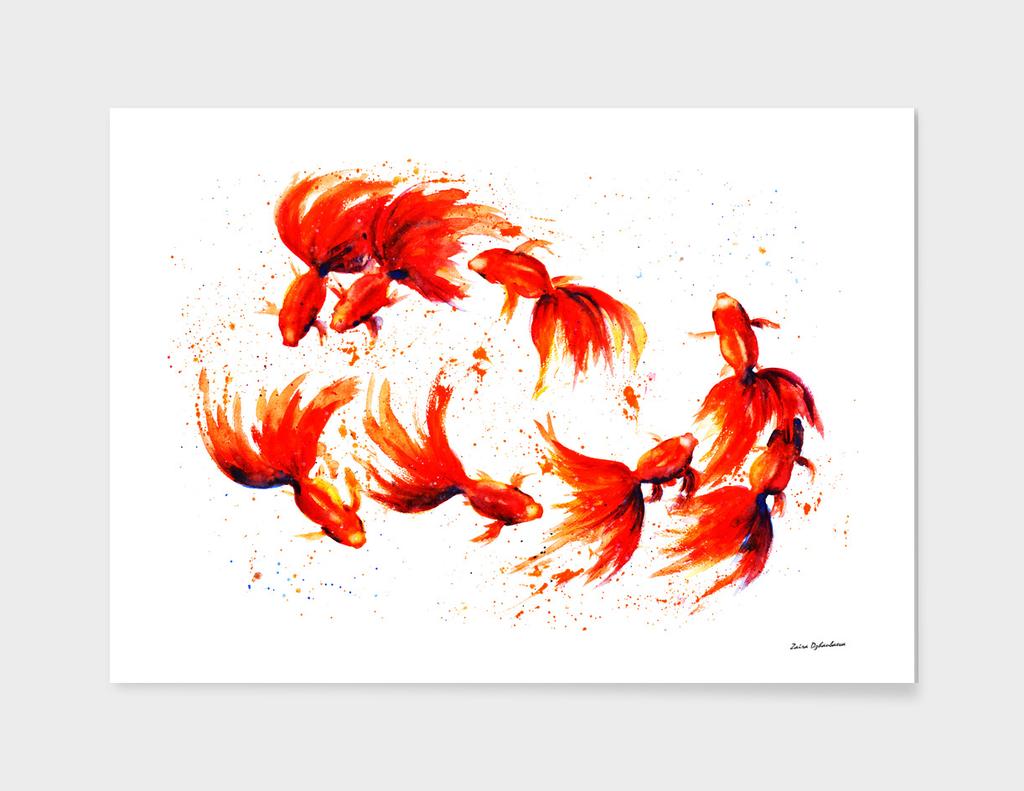 Eight Dancing Goldfish