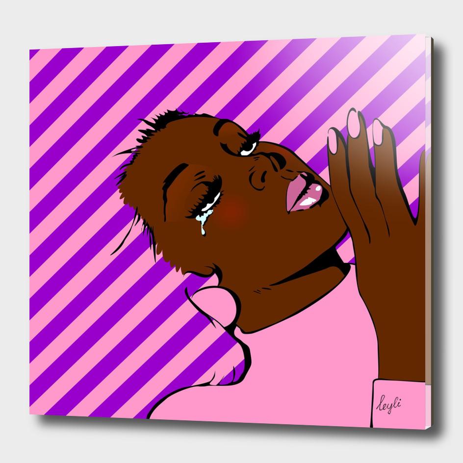 Comics Girl Stripes Pink-Violet