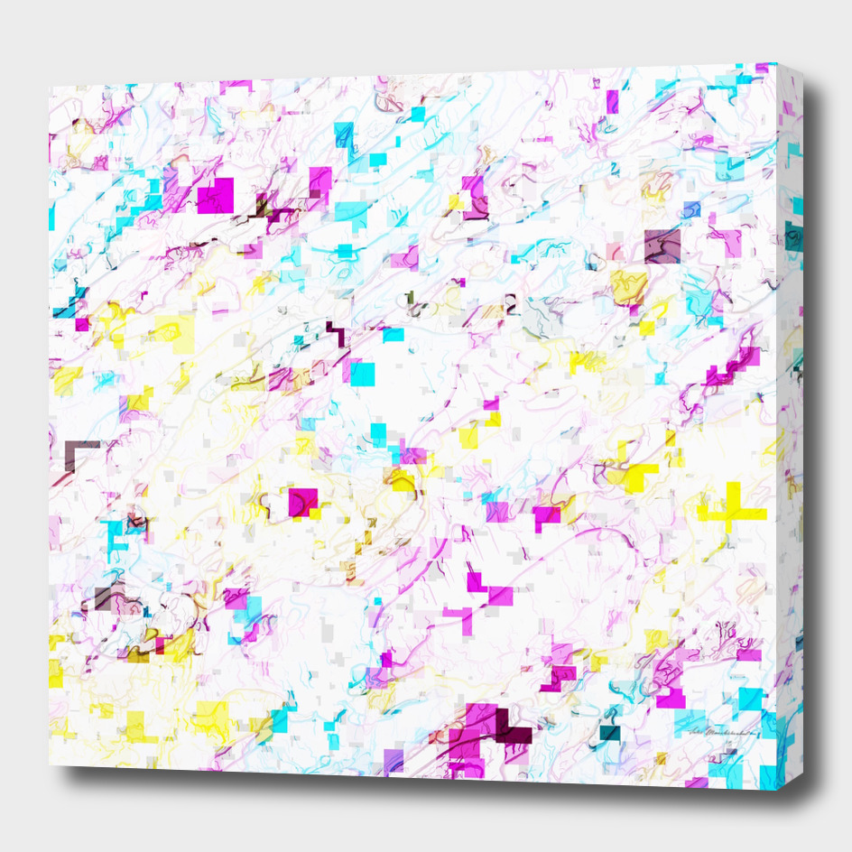 geometric square pixel pattern abstract in pink yellow blue