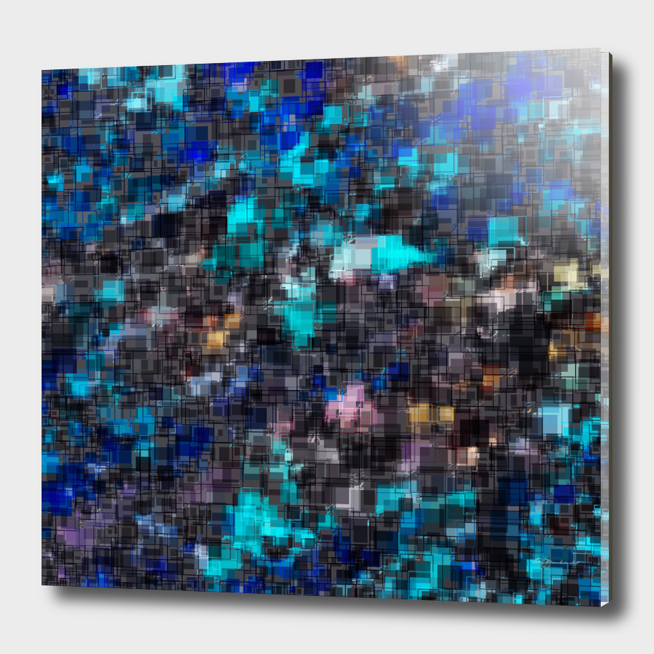 geometric square pixel pattern abstract in blue black pink