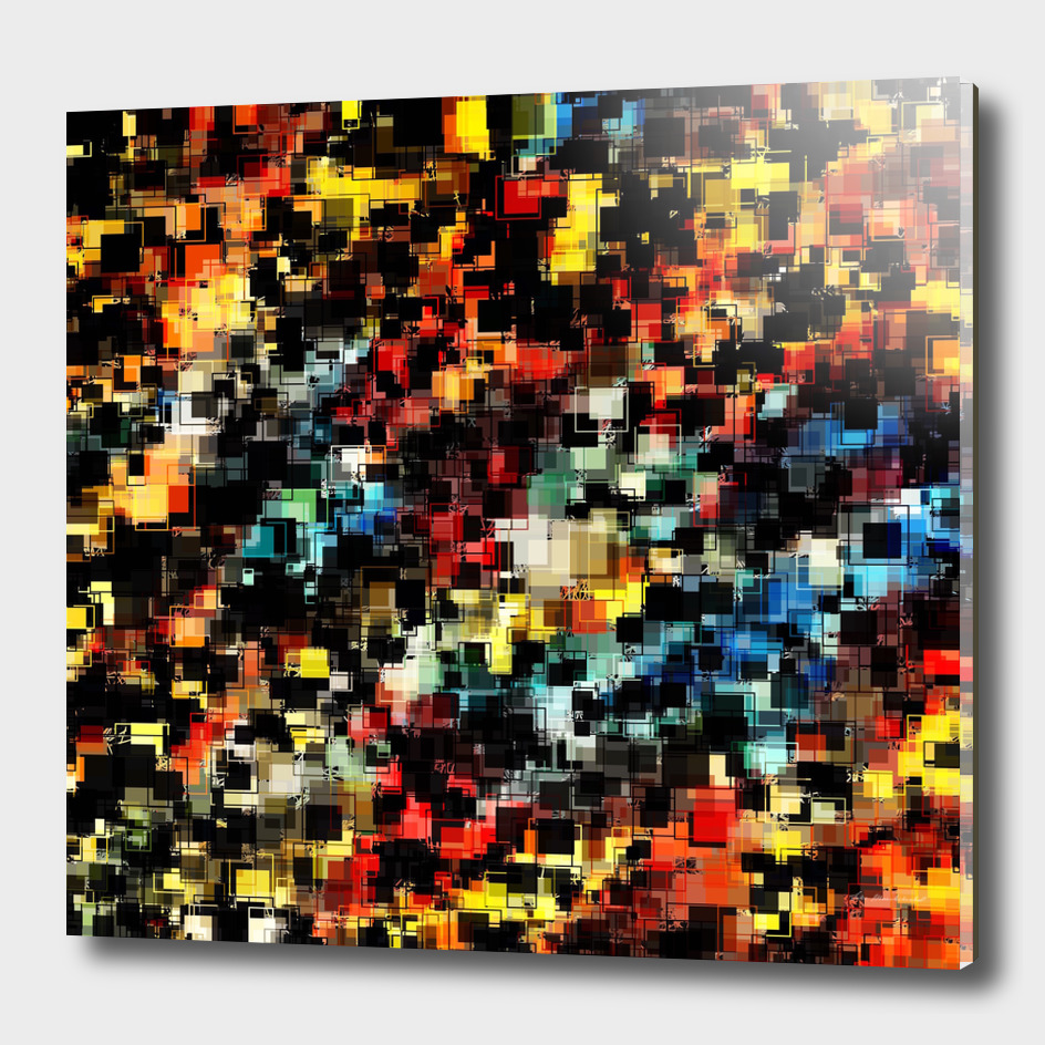 geometric square pixel pattern abstract in red blue yellow