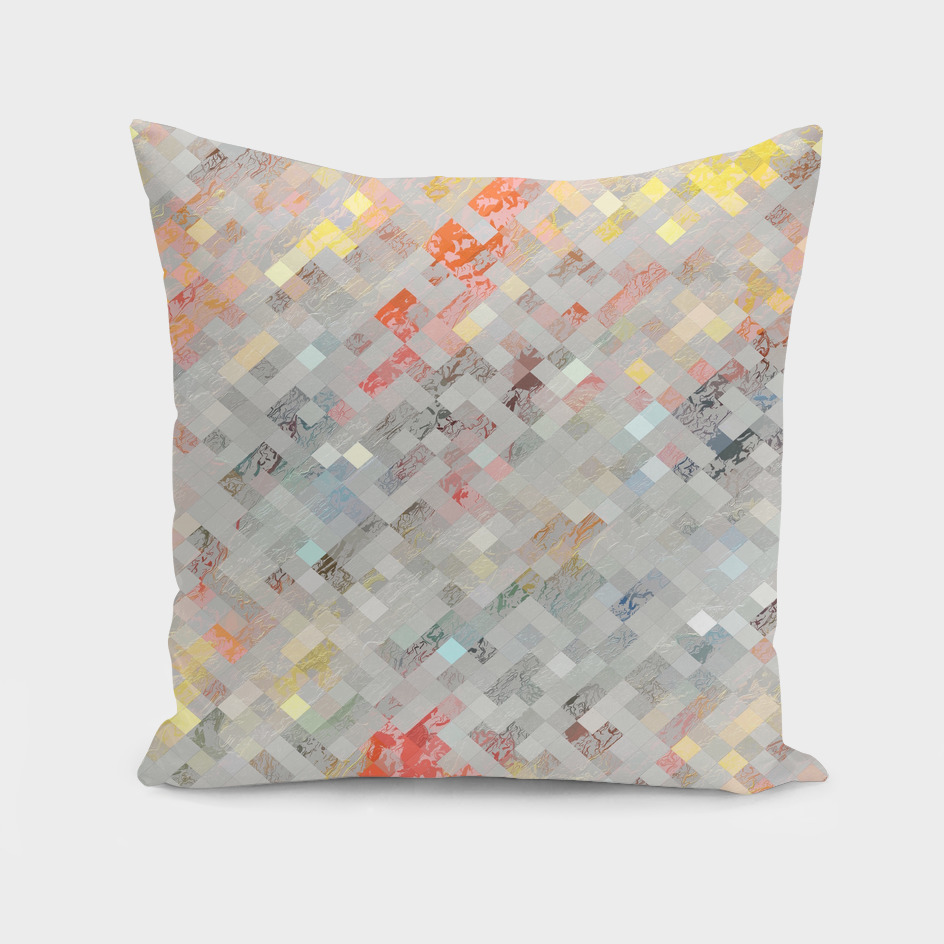 geometric square pixel pattern abstract in orange yellow