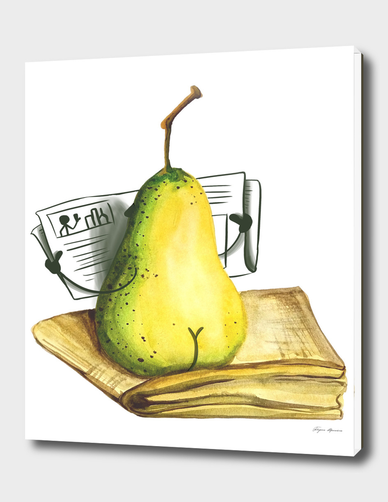 Pear watercolor illustration