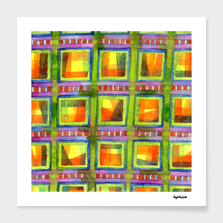 Light behind colorful geometric Windows