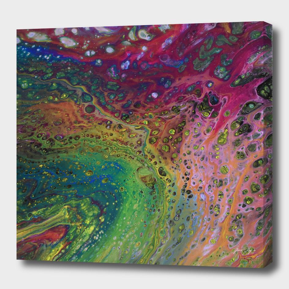 Acrylic pour painting, fluid art, acrylic flow