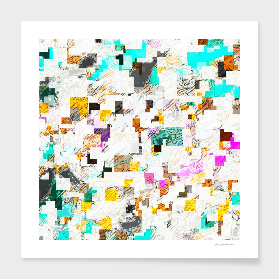 geometric square pattern abstract in blue pink brown green