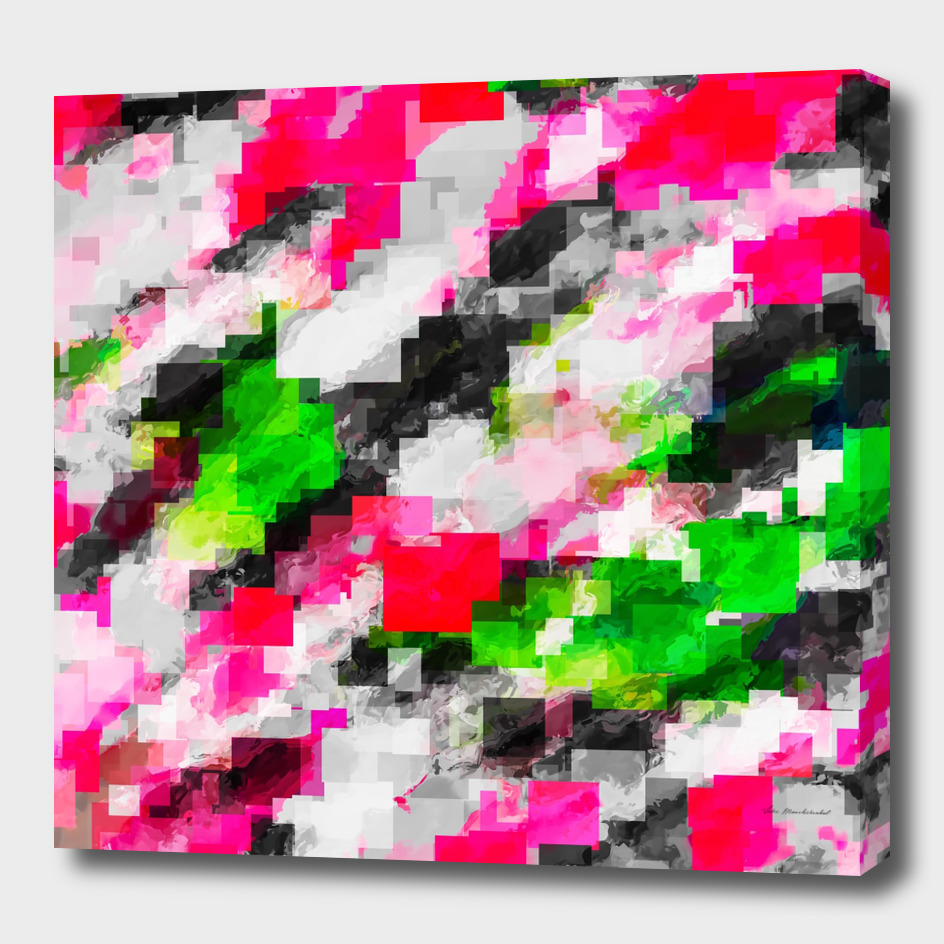geometric square pixel pattern abstract in pink and green