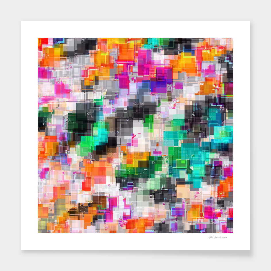 geometric square pixel pattern abstract in orange green pink