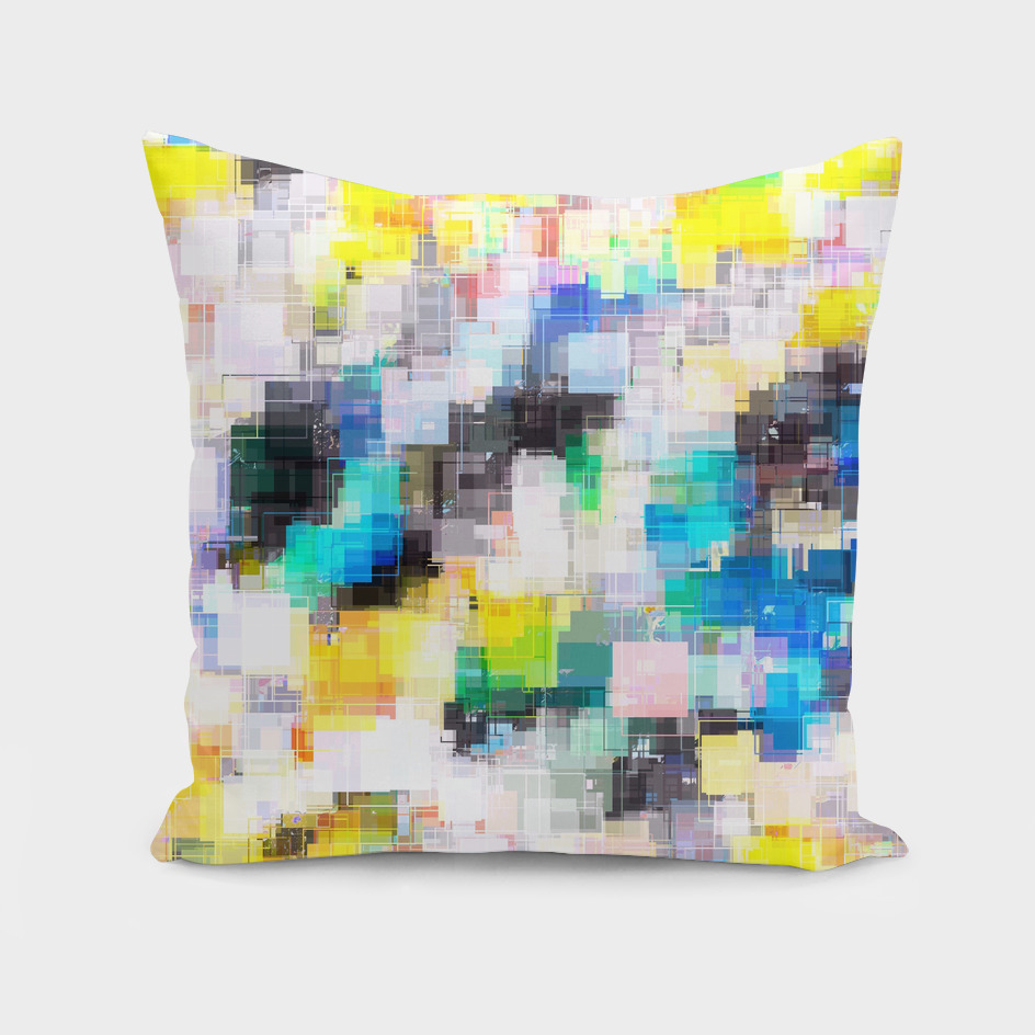 geometric square pixel pattern abstract in blue and yellow