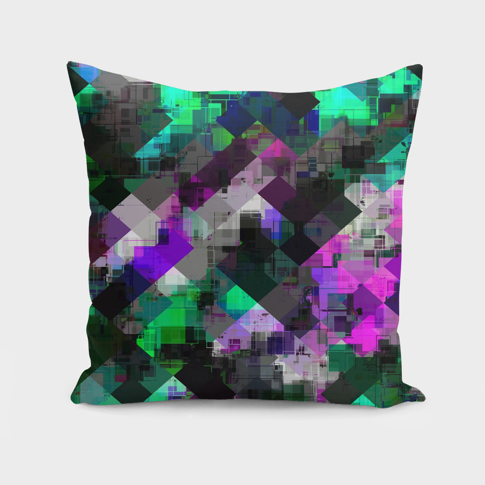 geometric square pixel pattern abstract in green pink purple