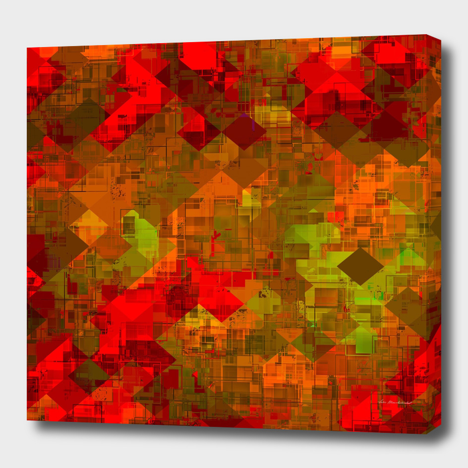 geometric square pixel pattern abstract in red orange green