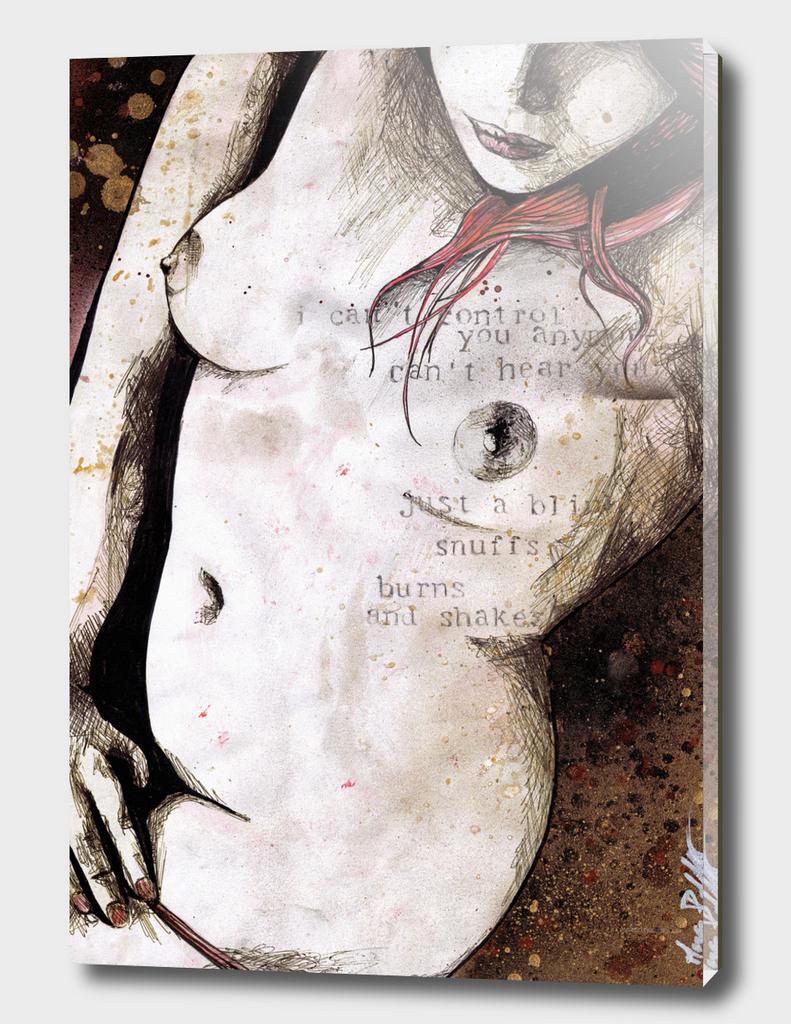 Rotten Apple (nude redhead girl, erotic graffiti portrait)