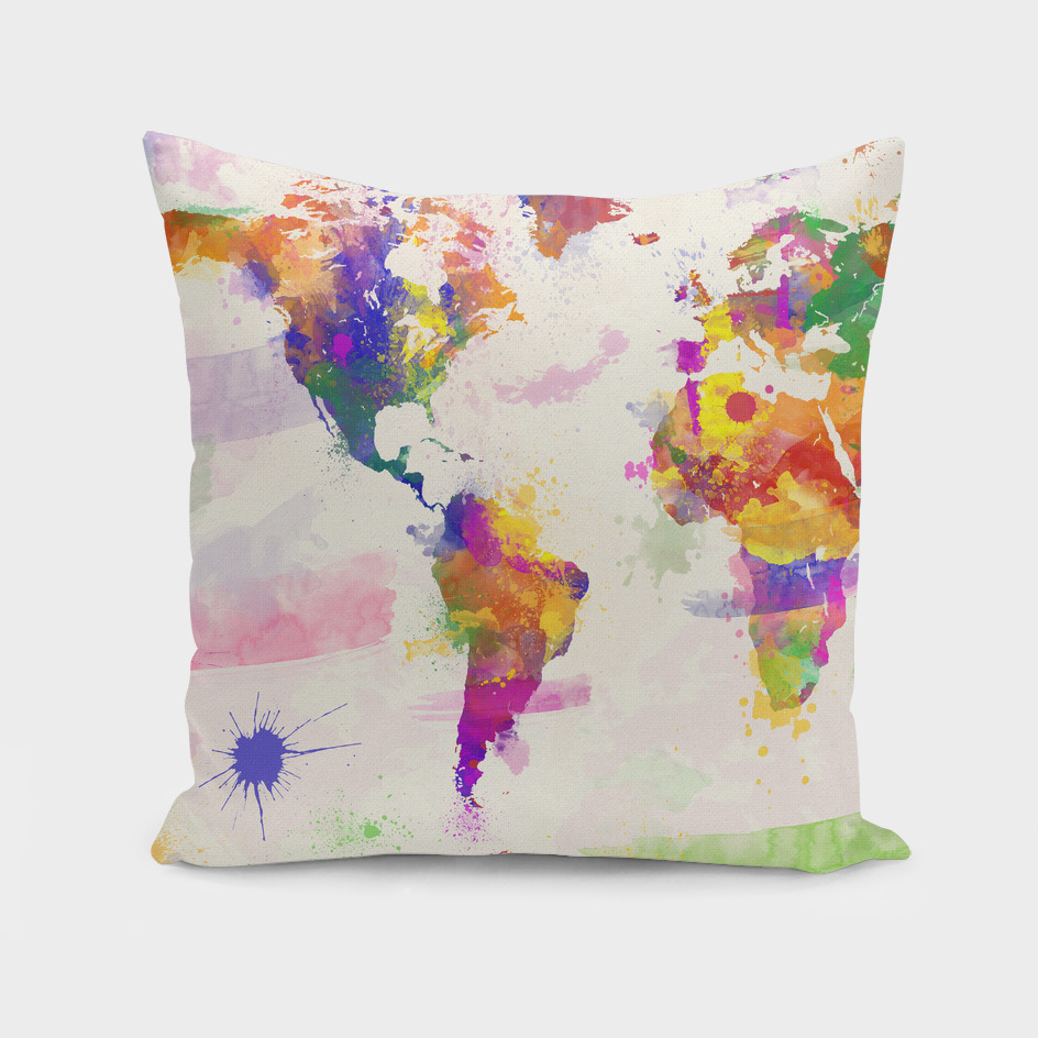 Colourful Watercolor World Map