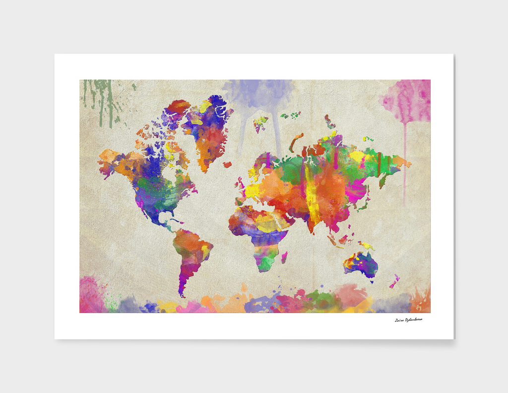 Watercolor Impression World Map