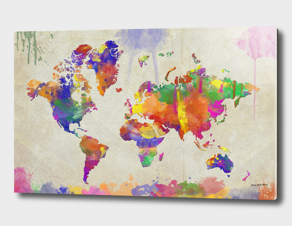 Watercolor Impression World Map