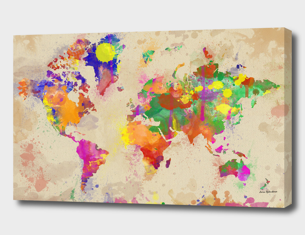Watercolor World Map On Old Canvas