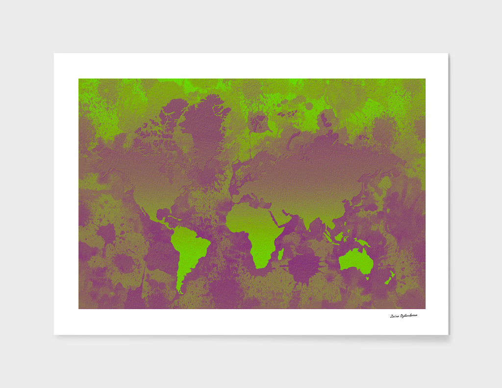 Green and Purple World Map